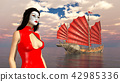 Asian woman with theatrical makeup and junk ship 42985336