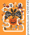 Happy Halloween flyer template in a flat style with festive map, funny and spooky cartoon characters 42985485