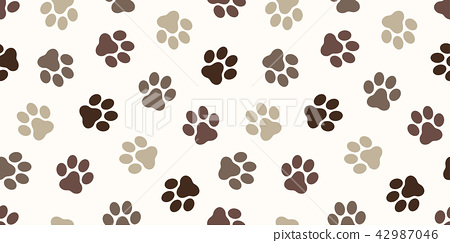 Dog Paw Seamless Pattern vector footprint Cat paw 42987046