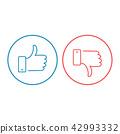 Like and dislike icons set. Thumbs up and thumbs 42993332