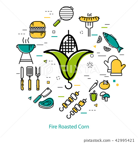Fire Roasted Corn - round concept 42995421