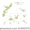 Handwritten Okinawa island map illustration 42995979