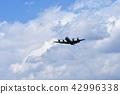 Maritime Self Defense Force patrol aircraft flying under a huge cumulonimbus cloud 42996338