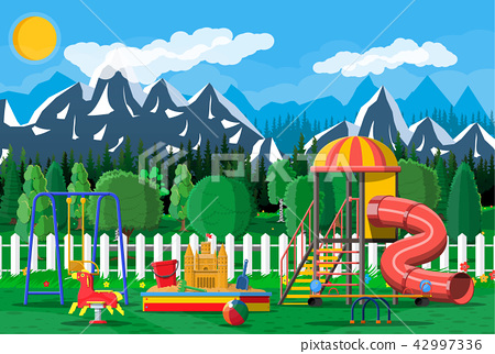 Kids playground kindergarten panorama 42997336
