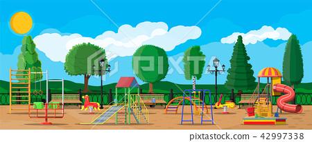 Kids playground kindergarten panorama 42997338