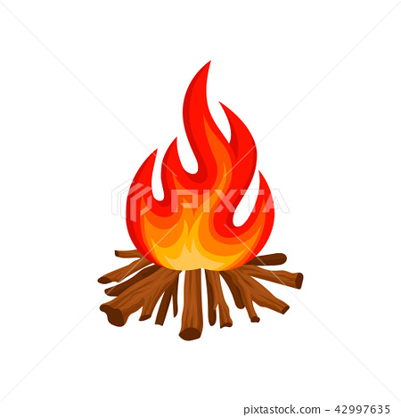 Burning bonfire with wood, camping fire vector Illustration on a white background 42997635
