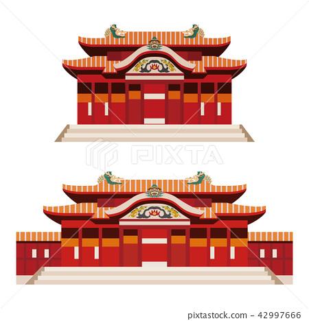 首里城堡沖繩島歷史建築例證 42997666