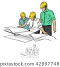 three construction engineer looking at blueprint   42997748