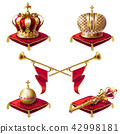Royal golden crowns, fanfares, scepter and orb 42998181