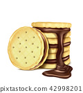 illustration of several sandwich-cookies with chocolate filling. 42998201