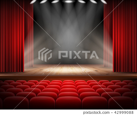 Red curtain and empty theatrical scene 42999088