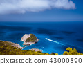 Zakynthos fantastic coastal view with white cliff. White tourist ship sailing full speed on open 43000890