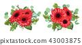 Set a bouquet of red gerberas, eucalyptus and  43003875