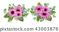 Vector floral bouquet, set composition for wedding 43003876