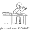 Cartoon of Man Eating Hotdog and Drinking Cola While Ants Are Stealing Second Hotdog 43004052
