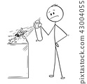 Cartoon of Man Hitting and Killing a Fly With Insecticide Chemical Spray 43004055