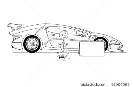 Cartoon of Man, Expensive Sport Car Owner, Sitting and Begging for Gas Money 43004062