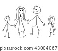 Cartoon of Family, Man and Woman and Boy and Girl Walking While Holding Hands 43004067