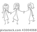 Cartoon of Homosexual Couple of Two Lesbian Women Walking and Holding Hands, One of Them is Also 43004068
