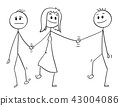 Cartoon of Heterosexual Couple Walking and Holding Hands, Woman is Also Holding Hand of Another Man 43004086