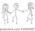 Cartoon of Heterosexual Couple Walking and Holding Hands, Man is Also Holding Hand of Mistress 43004087