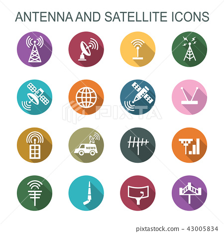 antenna and satellite long shadow icons 43005834