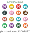butterfly long shadow icons 43005877