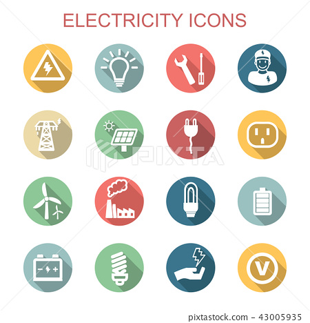 electricity long shadow icons 43005935