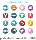 marine life long shadow icons 43006068