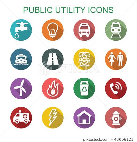 public utility long shadow icons 43006123