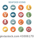 seafood long shadow icons 43006170