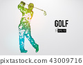Silhouette of a golf player. Vector illustration 43009716