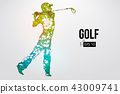 Silhouette of a golf player. Vector illustration 43009741