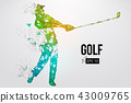 Silhouette of a golf player. Vector illustration 43009765
