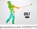 Silhouette of a golf player. Vector illustration 43009779