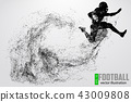 Silhouette of a football player. Vector illustration 43009808