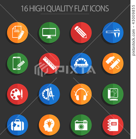 creative process 16 flat icons 43009855