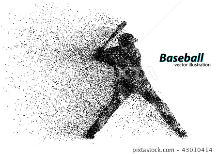 silhouette of a baseball player from particle. 43010414