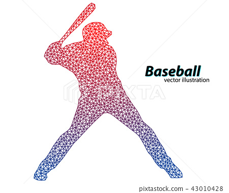 silhouette of a baseball player from triangle. 43010428