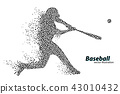 silhouette of a baseball player from triangle. 43010432