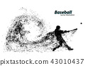 silhouette of a baseball player from particle. 43010437