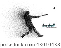 silhouette of a baseball player from particle. 43010438
