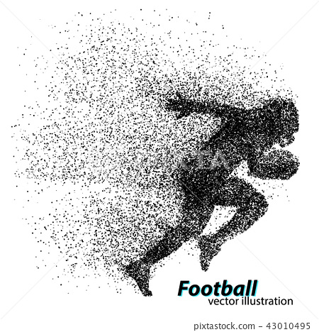 silhouette of a football player from particle. Rugby. American footballer 43010495