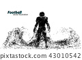 silhouette of a football player from particle. Rugby. American footballer 43010542
