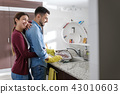 Man And Woman Doing Home Chores In Kitchen 43010603
