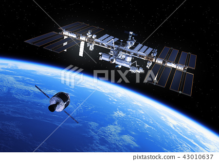 Crew Exploration Vehicle Is Preparing To Dock With International Space Station 43010637