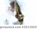 beautiful woman body model action watercolor paint 43013920