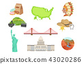 USA National Symbols Set Of Items. Isolated Objects Representing United States Of America 43020286
