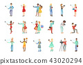 People Taking Picture With Selfie Stick Set Of Illustrations 43020294