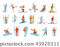 People And Winter Sports Illustrations Isolated On White Background. Simplified Cartoon Characters 43020311